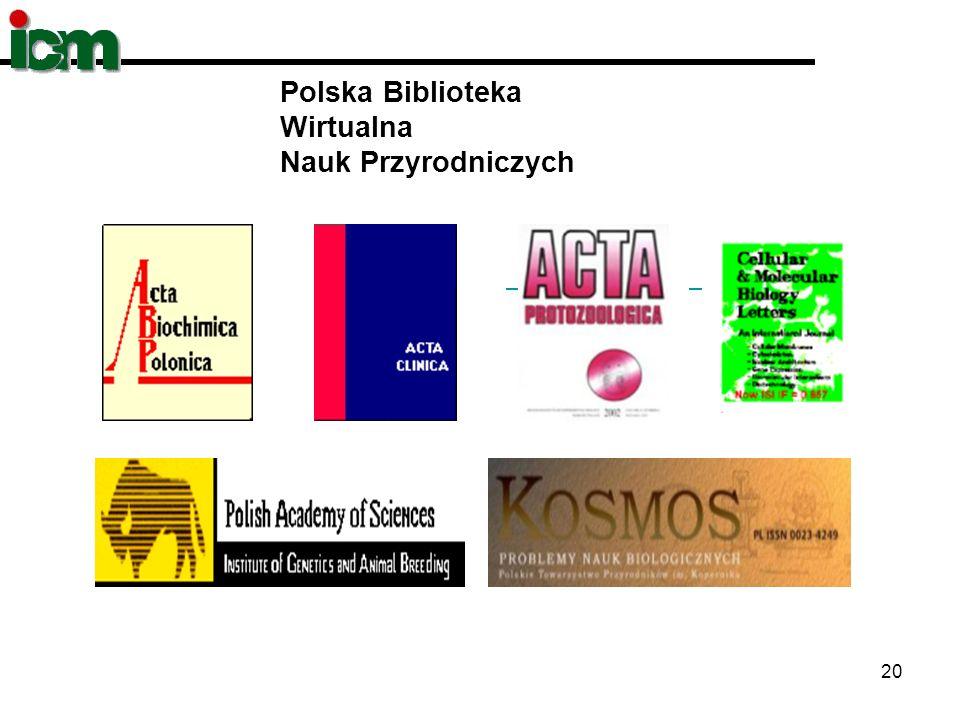 20 Polska Biblioteka Wirtualna Nauk Przyrodniczych