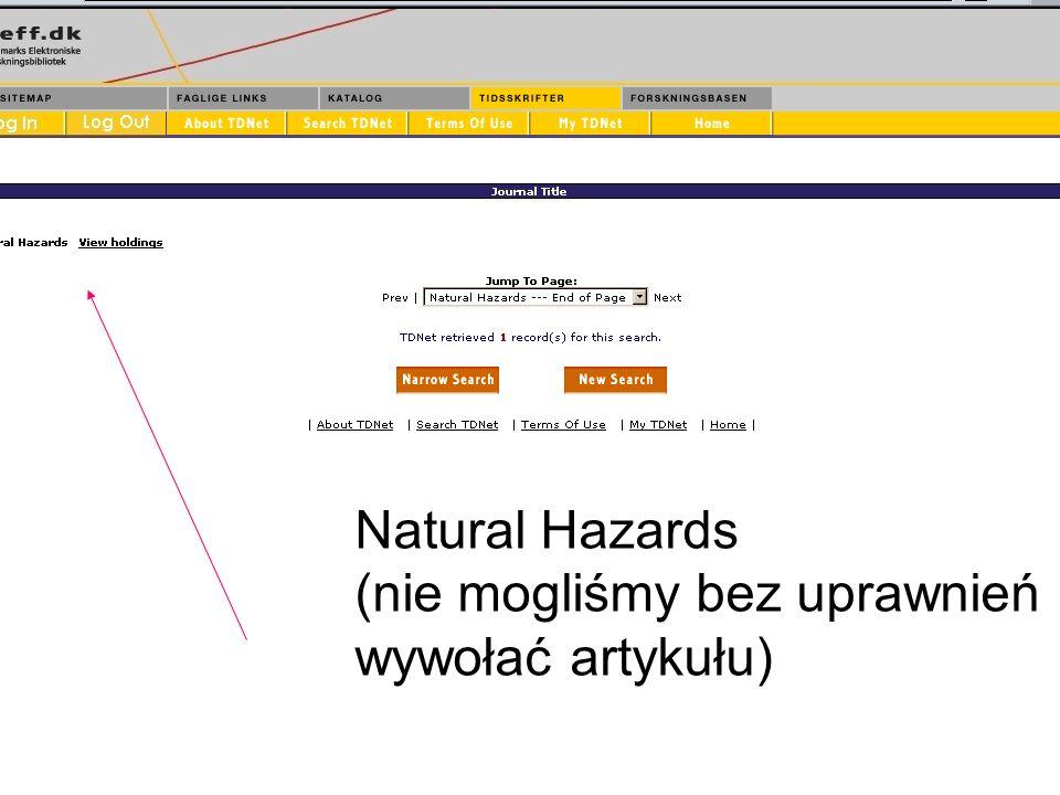 24 Natural Hazards (nie mogliśmy bez uprawnień wywołać artykułu)