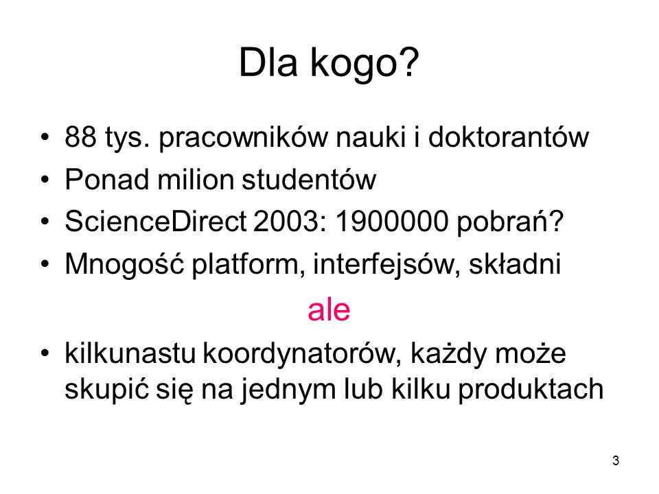 3 Dla kogo? 88 tys. pracowników nauki i doktorantów Ponad milion studentów ScienceDirect 2003: 1900000 pobrań? Mnogość platform, interfejsów, składni