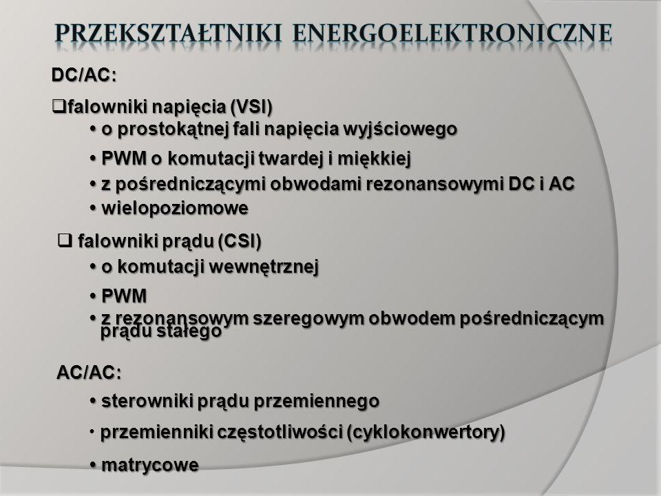 DC/AC: falowniki napięcia (VSI) falowniki napięcia (VSI) z pośredniczącymi obwodami rezonansowymi DC i AC z pośredniczącymi obwodami rezonansowymi DC