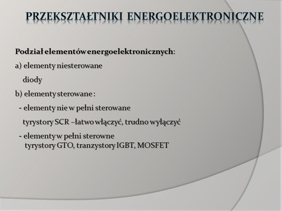 Podział elementów energoelektronicznych: a) elementy niesterowane diody diody b) elementy sterowane : - elementy nie w pełni sterowane - elementy nie