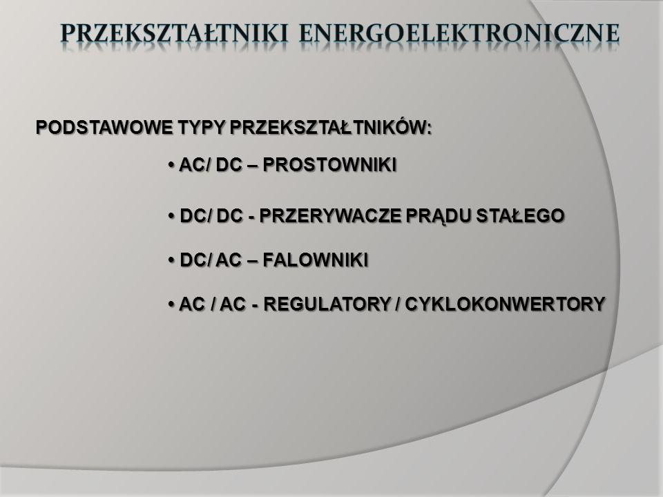 AC/DC: prostowniki sterowane prostowniki sterowane 1 faz / 3 faz zasilacze impulsowe (SMR) 1 faz / 3 faz zasilacze impulsowe (SMR) prostowniki PWM prostowniki PWM DC/DC: PWM inaczej impulsowe (down /up / down-up) PWM inaczej impulsowe (down /up / down-up) Čuka Čuka transformatorowe jedno- i dwutaktowe transformatorowe jedno- i dwutaktowe rezonansowe prądu stałego rezonansowe prądu stałego