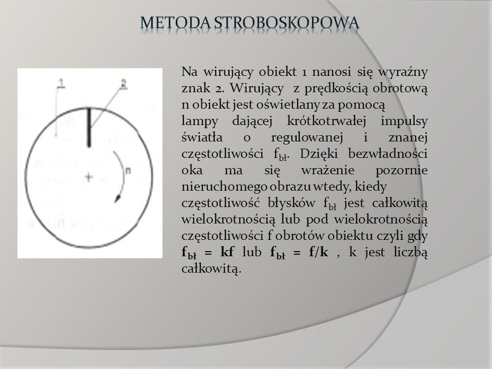 Na wirujący obiekt 1 nanosi się wyraźny znak 2. Wirujący z prędkością obrotową n obiekt jest oświetlany za pomocą lampy dającej krótkotrwałej impulsy