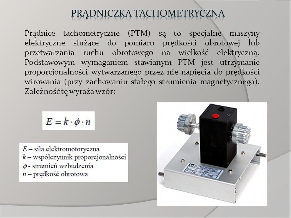 Prądnice tachometryczne (PTM) są to specjalne maszyny elektryczne służące do pomiaru prędkości obrotowej lub przetwarzania ruchu obrotowego na wielkoś