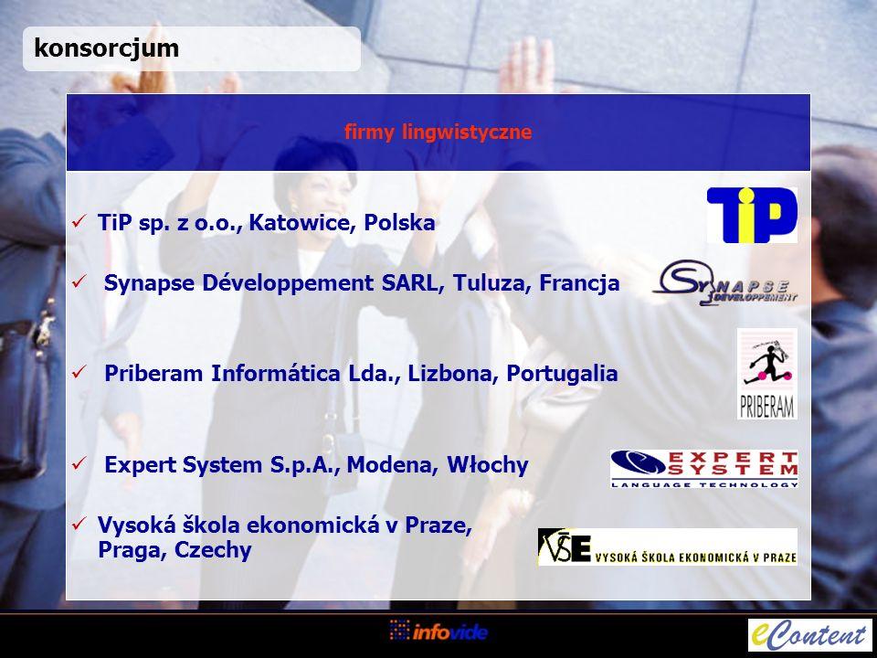 konsorcjum TiP sp. z o.o., Katowice, Polska Synapse Développement SARL, Tuluza, Francja Priberam Informática Lda., Lizbona, Portugalia Expert System S