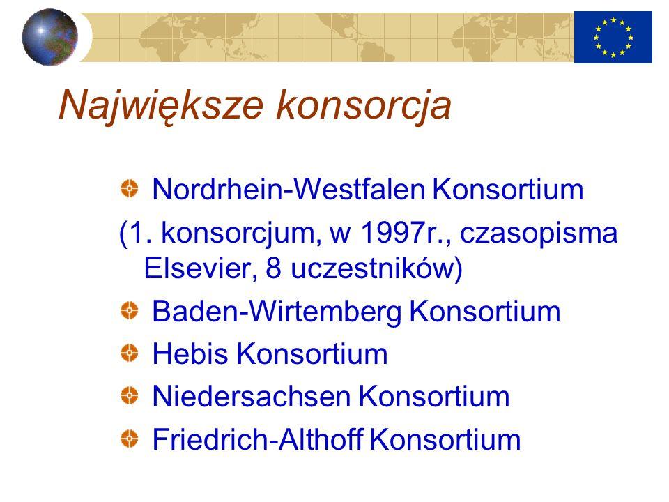 Największe konsorcja Nordrhein-Westfalen Konsortium (1. konsorcjum, w 1997r., czasopisma Elsevier, 8 uczestników) Baden-Wirtemberg Konsortium Hebis Ko