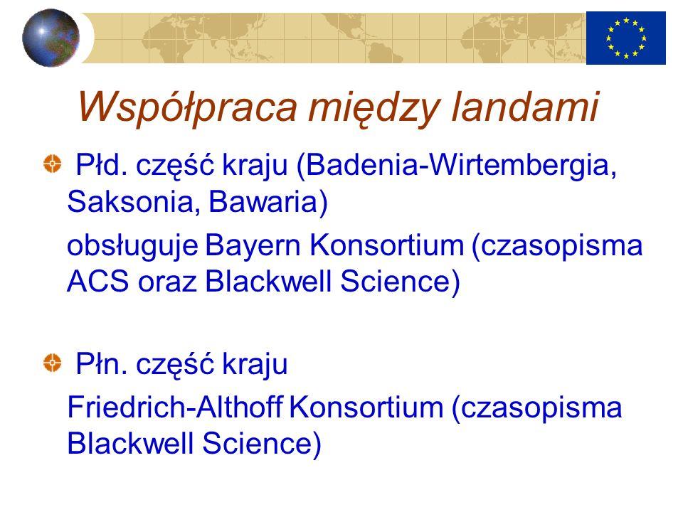 Współpraca między landami Płd. część kraju (Badenia-Wirtembergia, Saksonia, Bawaria) obsługuje Bayern Konsortium (czasopisma ACS oraz Blackwell Scienc