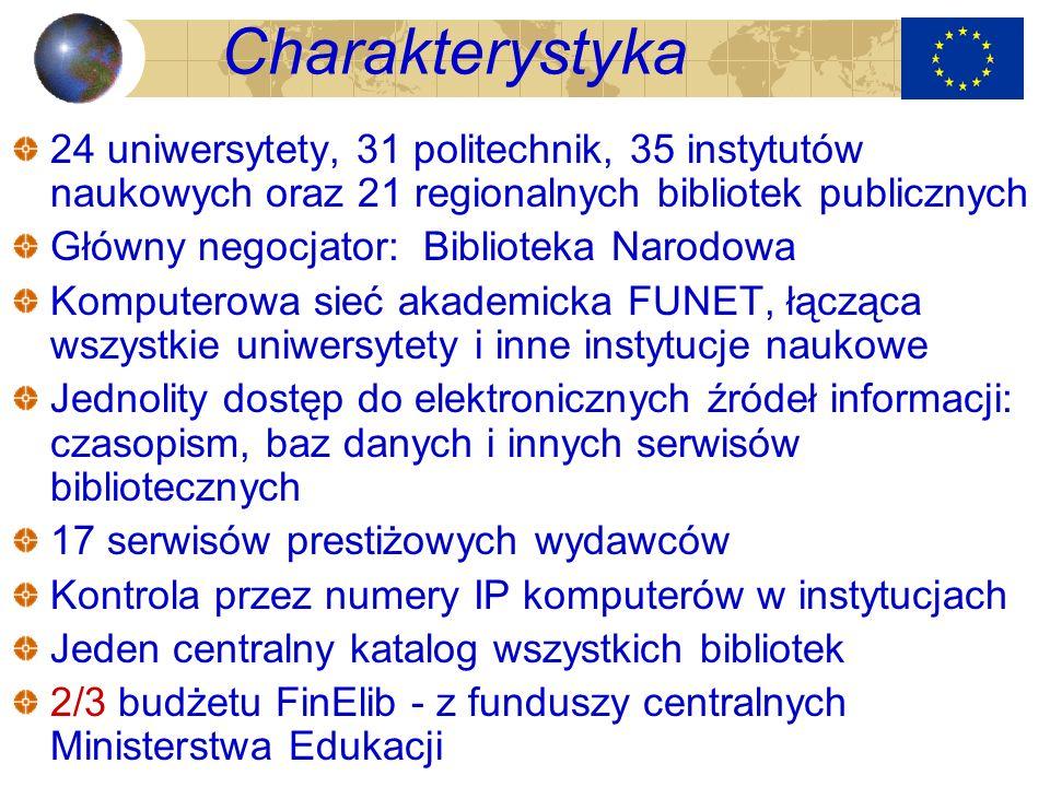 Charakterystyka 24 uniwersytety, 31 politechnik, 35 instytutów naukowych oraz 21 regionalnych bibliotek publicznych Główny negocjator: Biblioteka Naro