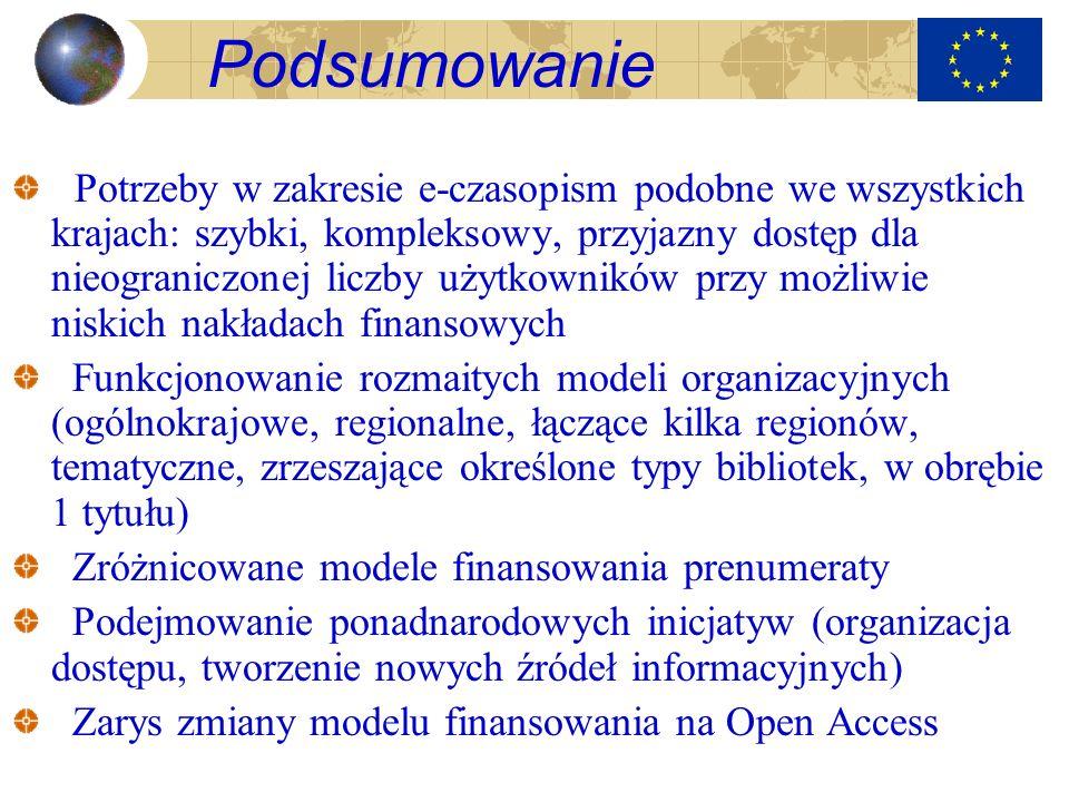 Podsumowanie Potrzeby w zakresie e-czasopism podobne we wszystkich krajach: szybki, kompleksowy, przyjazny dostęp dla nieograniczonej liczby użytkowni