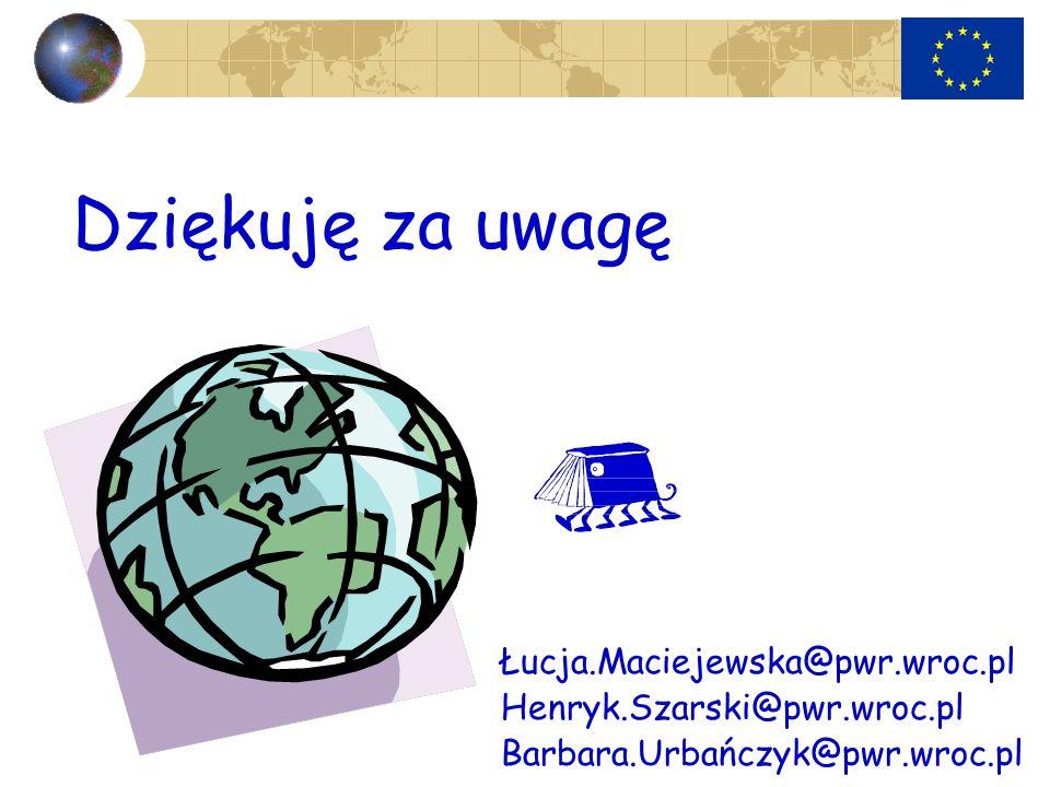 Dziękuję za uwagę Łucja.Maciejewska@pwr.wroc.pl Henryk.Szarski@pwr.wroc.pl Barbara.Urbańczyk@pwr.wroc.pl