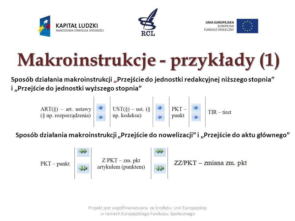 Makroinstrukcje - przykłady (1) Projekt jest współfinansowany ze środków Unii Europejskiej w ramach Europejskiego Funduszu Społecznego Sposób działani