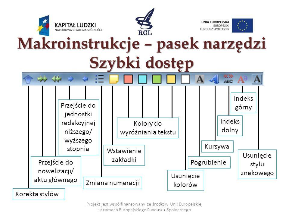 Makroinstrukcje – pasek narzędzi Szybki dostęp Projekt jest współfinansowany ze środków Unii Europejskiej w ramach Europejskiego Funduszu Społecznego
