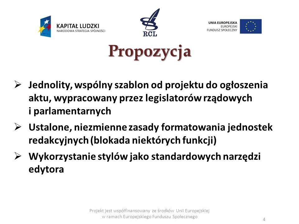 Projekt jest współfinansowany ze środków Unii Europejskiej w ramach Europejskiego Funduszu Społecznego Propozycja Jednolity, wspólny szablon od projek