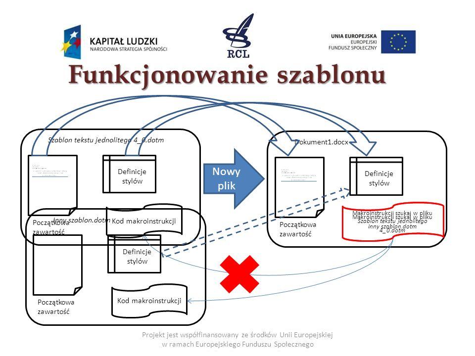 Makroinstrukcje - przykłady (2) Projekt jest współfinansowany ze środków Unii Europejskiej w ramach Europejskiego Funduszu Społecznego Sposób działania makroinstrukcji Korekta formatowania dokumentu