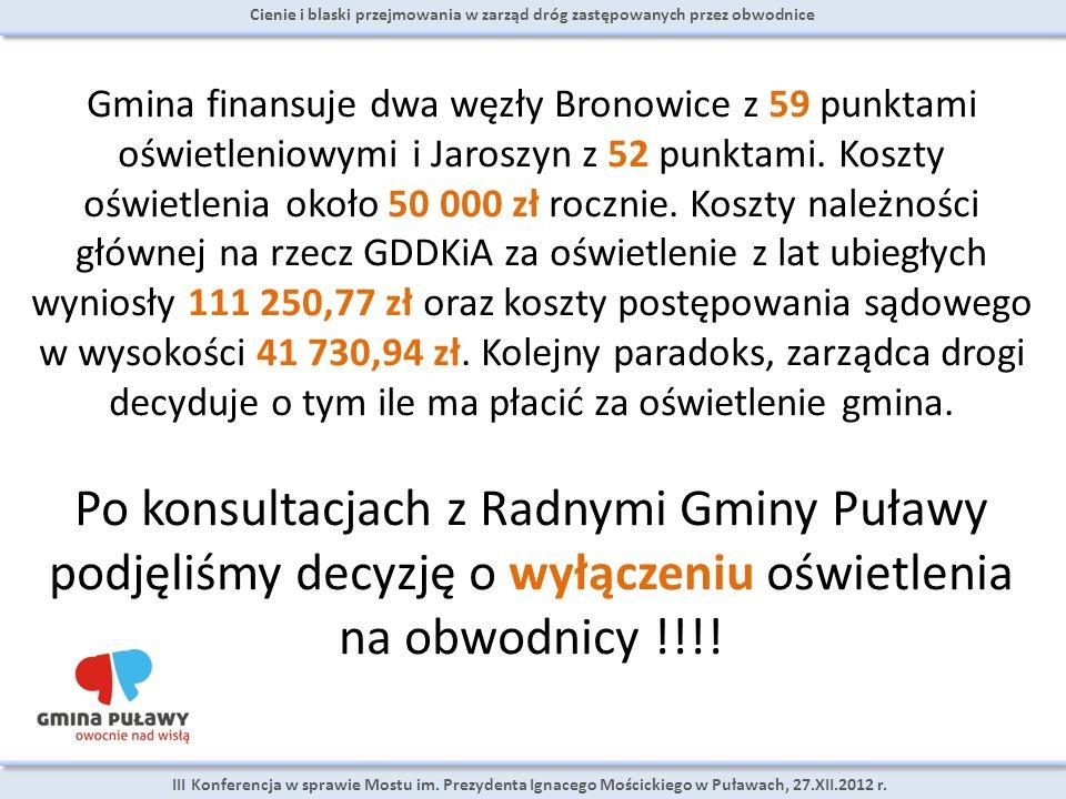 Cienie i blaski przejmowania w zarząd dróg zastępowanych przez obwodnice III Konferencja w sprawie Mostu im. Prezydenta Ignacego Mościckiego w Puławac