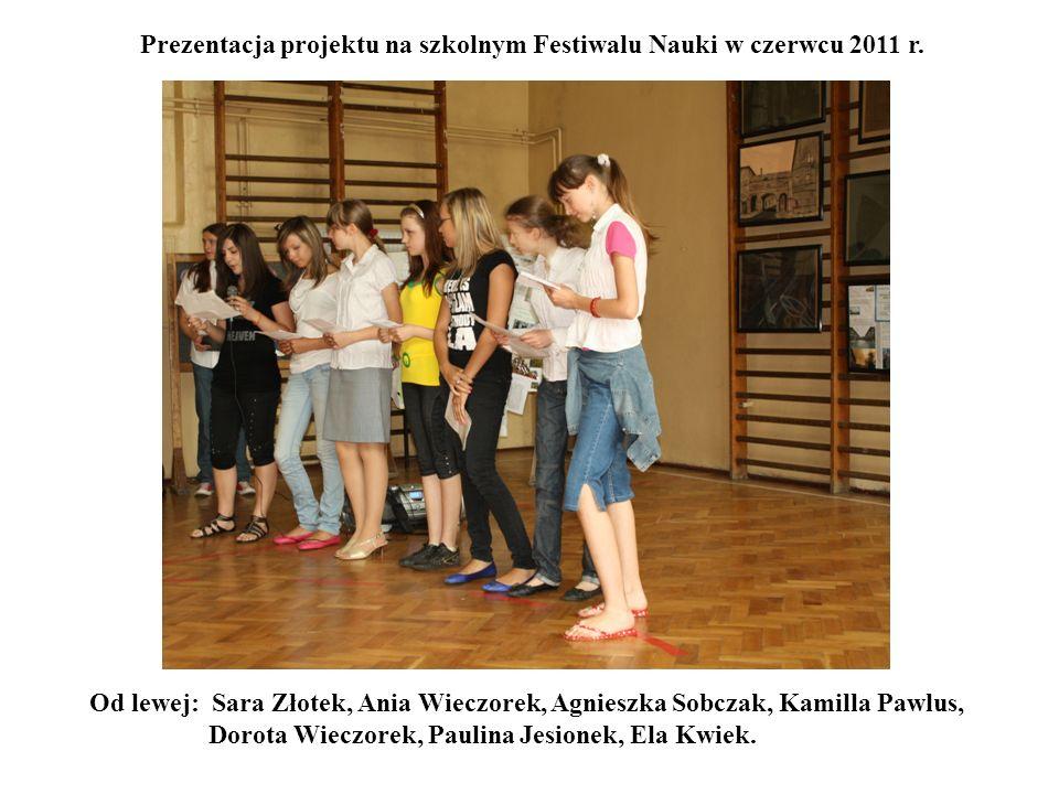 Prezentacja projektu na szkolnym Festiwalu Nauki w czerwcu 2011 r. Od lewej: Sara Złotek, Ania Wieczorek, Agnieszka Sobczak, Kamilla Pawlus, Dorota Wi