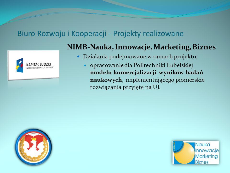 NIMB-Nauka, Innowacje, Marketing, Biznes Działania podejmowane w ramach projektu: opracowanie dla Politechniki Lubelskiej modelu komercjalizacji wyników badań naukowych, implementującego pionierskie rozwiązania przyjęte na UJ.