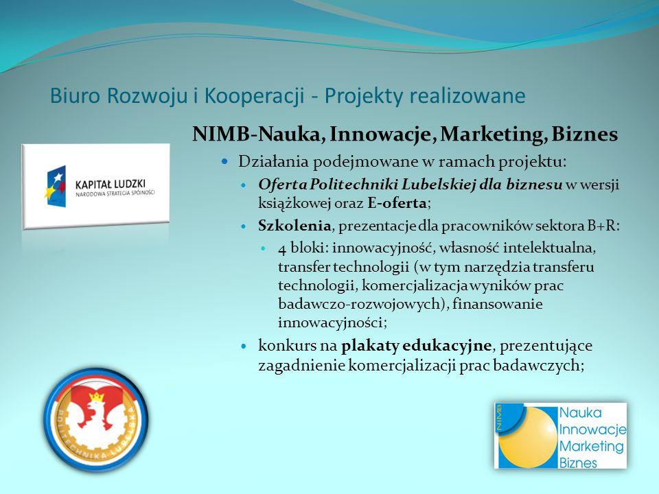 NIMB-Nauka, Innowacje, Marketing, Biznes Działania podejmowane w ramach projektu: Oferta Politechniki Lubelskiej dla biznesu w wersji książkowej oraz E-oferta; Szkolenia, prezentacje dla pracowników sektora B+R: 4 bloki: innowacyjność, własność intelektualna, transfer technologii (w tym narzędzia transferu technologii, komercjalizacja wyników prac badawczo-rozwojowych), finansowanie innowacyjności; konkurs na plakaty edukacyjne, prezentujące zagadnienie komercjalizacji prac badawczych; Biuro Rozwoju i Kooperacji - Projekty realizowane