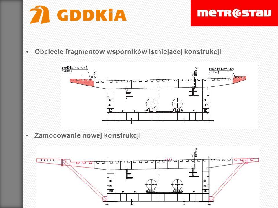 Zamocowanie nowej konstrukcji Obcięcie fragmentów wsporników istniejącej konstrukcji