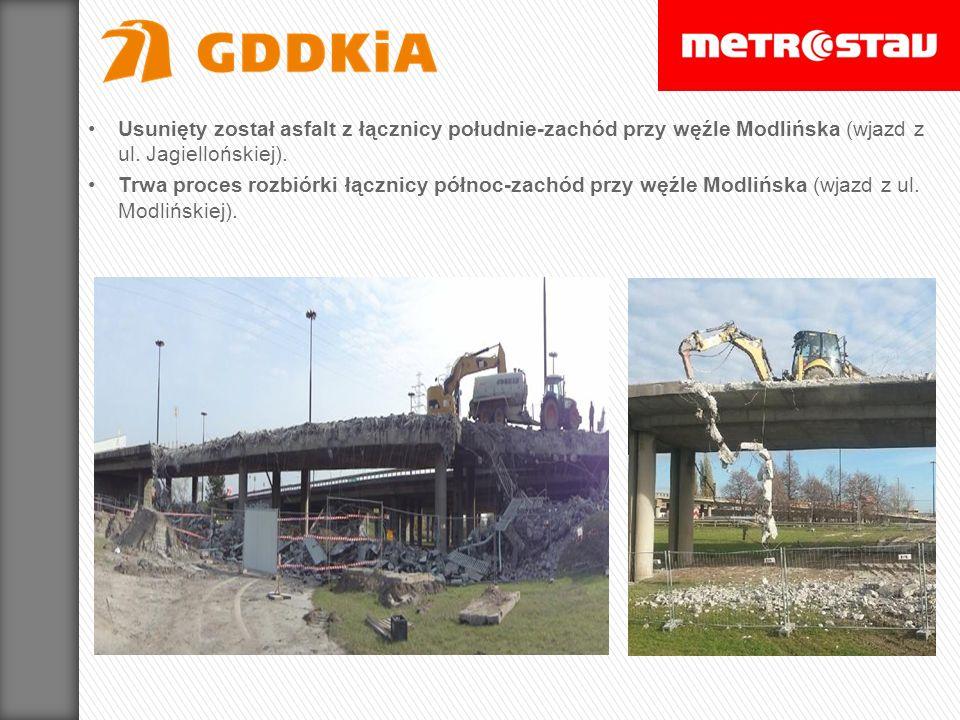 Usunięty został asfalt z łącznicy południe-zachód przy węźle Modlińska (wjazd z ul. Jagiellońskiej). Trwa proces rozbiórki łącznicy północ-zachód przy