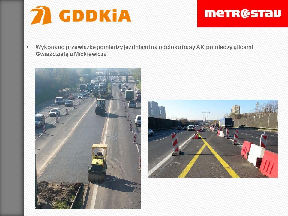 Zakończenie budowy przewiązki w pasie środkowym Trasy AK na odcinku 100 m na wysokości węzła Wisłostrada.