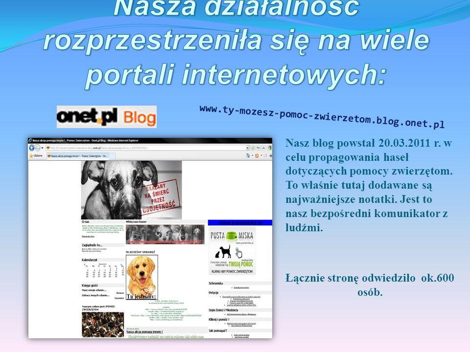 http:// www.youtube.com/user/animalshelp1993 Utworzyłyśmy dwa filmy i zamieściliśmy je na stronach youtube i wrzuta.pl