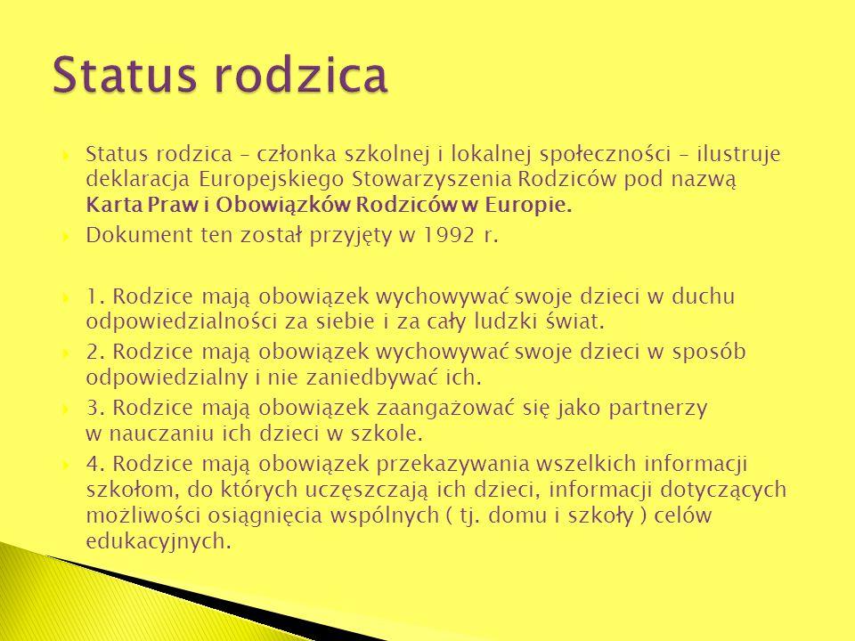 Status rodzica – członka szkolnej i lokalnej społeczności – ilustruje deklaracja Europejskiego Stowarzyszenia Rodziców pod nazwą Karta Praw i Obowiązk