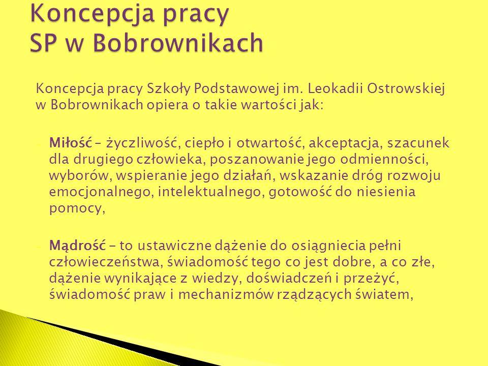 Koncepcja pracy Szkoły Podstawowej im. Leokadii Ostrowskiej w Bobrownikach opiera o takie wartości jak: - Miłość – życzliwość, ciepło i otwartość, akc