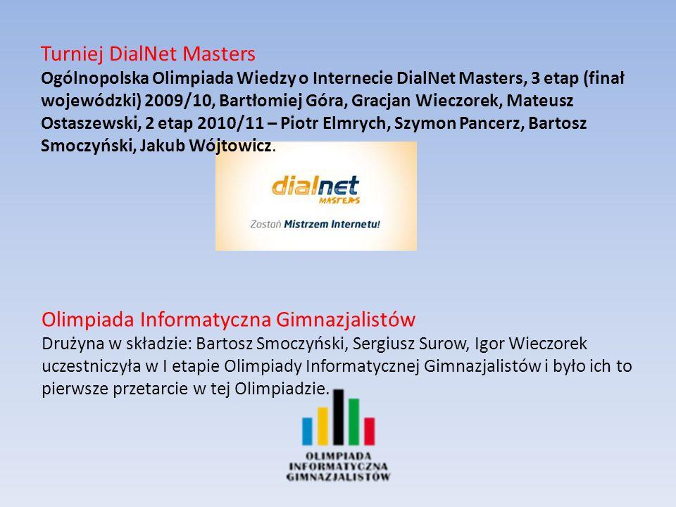 Olimpiada Informatyczna Gimnazjalistów Drużyna w składzie: Bartosz Smoczyński, Sergiusz Surow, Igor Wieczorek uczestniczyła w I etapie Olimpiady Informatycznej Gimnazjalistów i było ich to pierwsze przetarcie w tej Olimpiadzie.