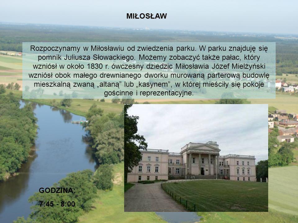 Rozpoczynamy w Miłosławiu od zwiedzenia parku. W parku znajduję się pomnik Juliusza Słowackiego. Możemy zobaczyć także pałac, który wzniósł w około 18
