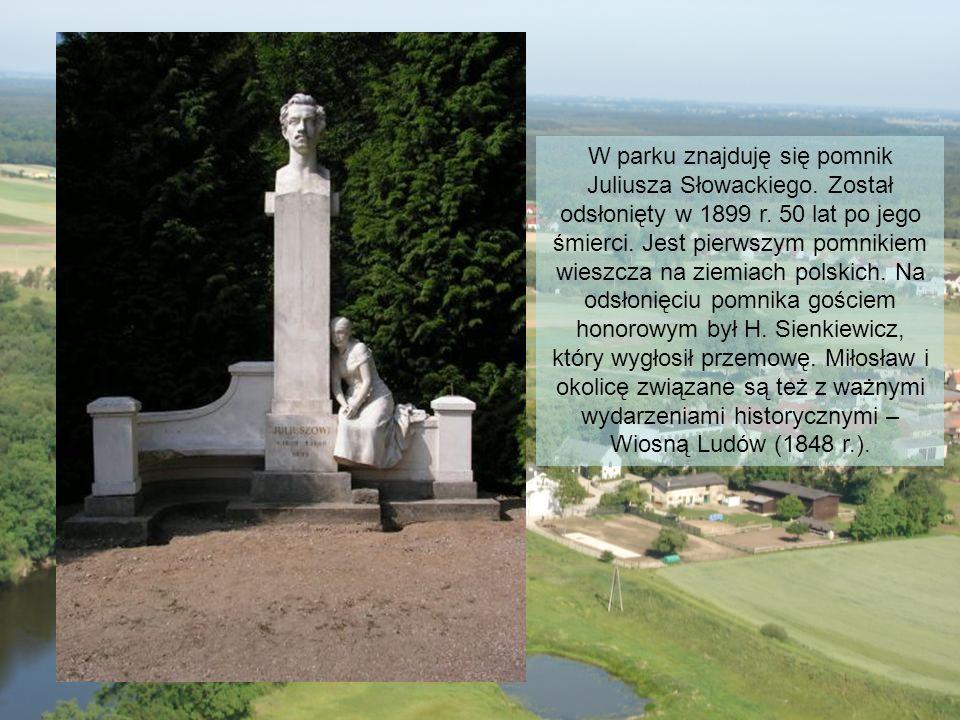 W parku znajduję się pomnik Juliusza Słowackiego. Został odsłonięty w 1899 r. 50 lat po jego śmierci. Jest pierwszym pomnikiem wieszcza na ziemiach po