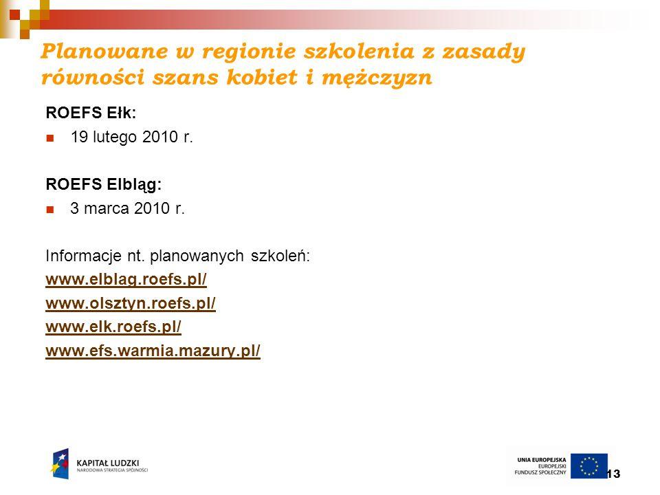 13 Planowane w regionie szkolenia z zasady równości szans kobiet i mężczyzn ROEFS Ełk: 19 lutego 2010 r. ROEFS Elbląg: 3 marca 2010 r. Informacje nt.