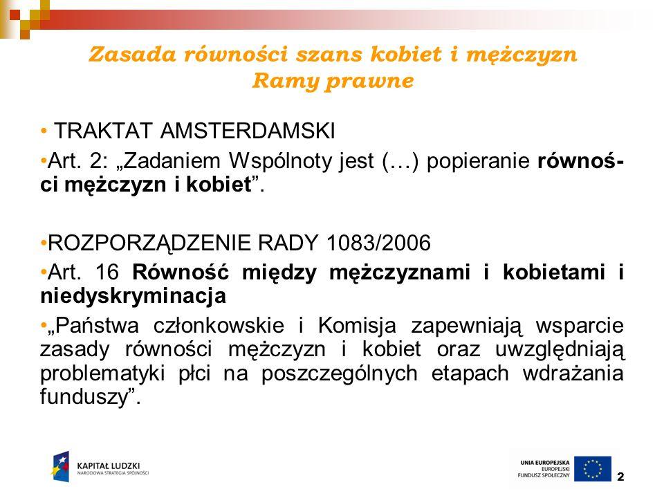 13 Planowane w regionie szkolenia z zasady równości szans kobiet i mężczyzn ROEFS Ełk: 19 lutego 2010 r.