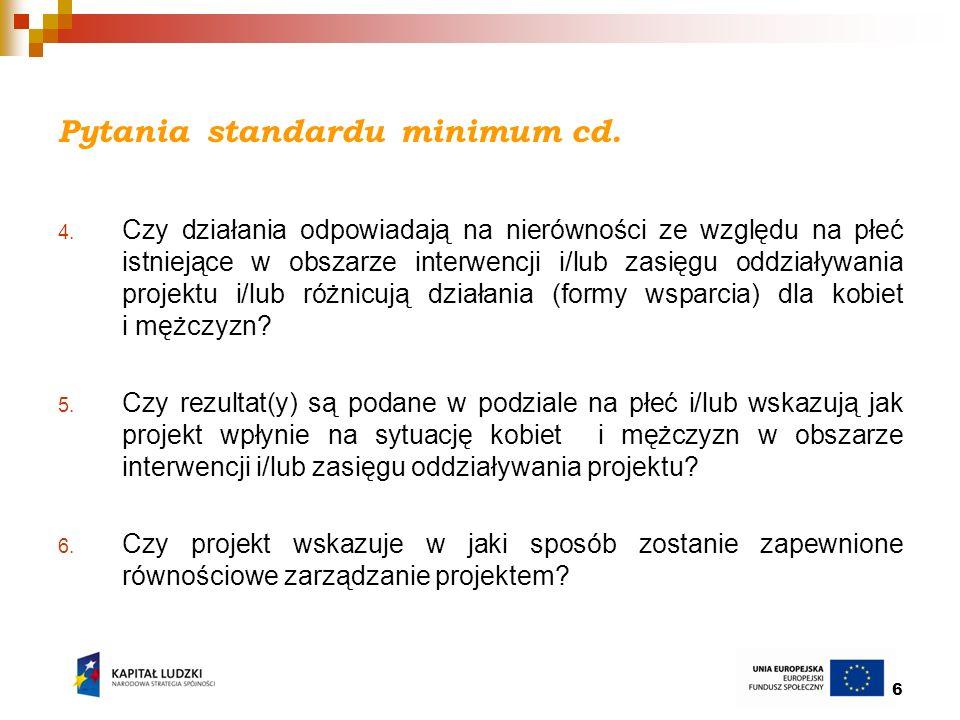 6 Pytania standardu minimum cd. 4. Czy działania odpowiadają na nierówności ze względu na płeć istniejące w obszarze interwencji i/lub zasięgu oddział