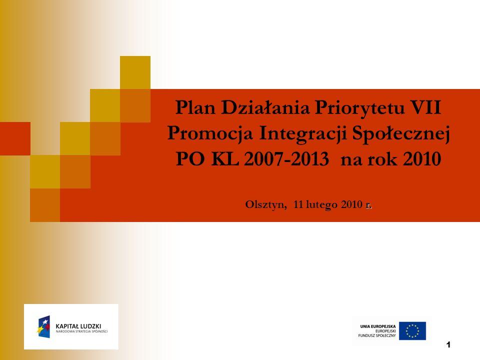 1 Plan Działania Priorytetu VII Promocja Integracji Społecznej PO KL 2007-2013 na rok 2010 r.