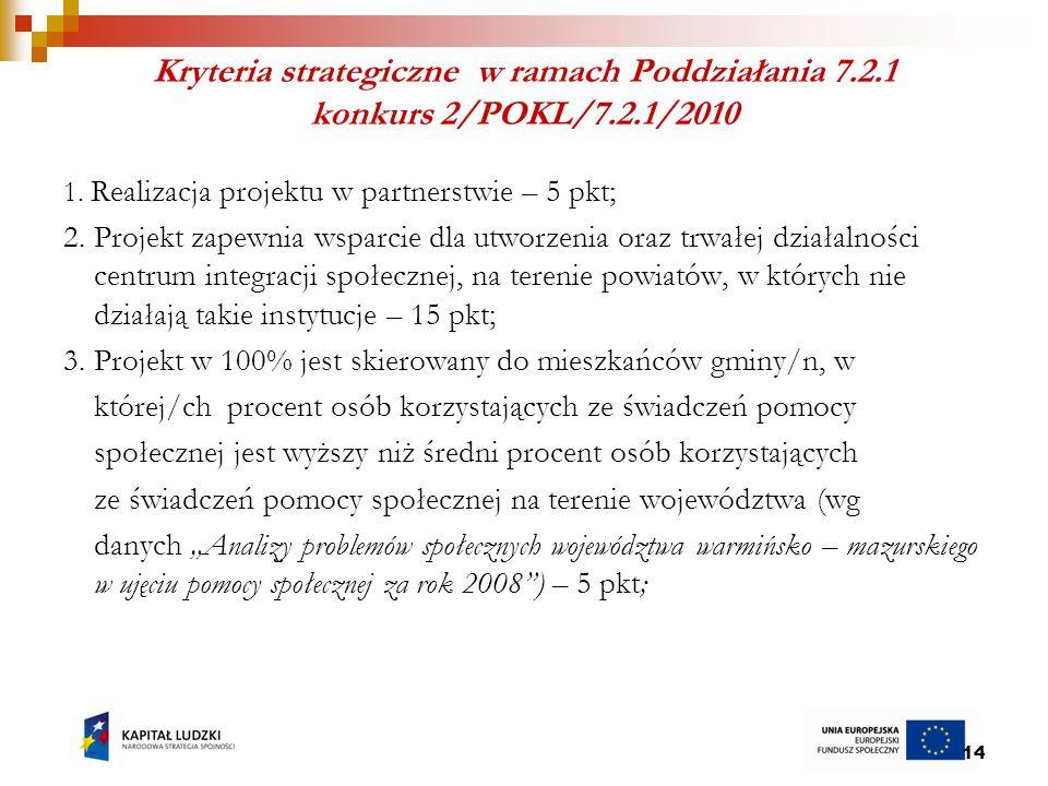 14 Kryteria strategiczne w ramach Poddziałania 7.2.1 konkurs 2/POKL/7.2.1/2010 1.