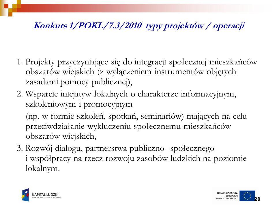 20 Konkurs 1/POKL/7.3/2010 typy projektów / operacji 1.