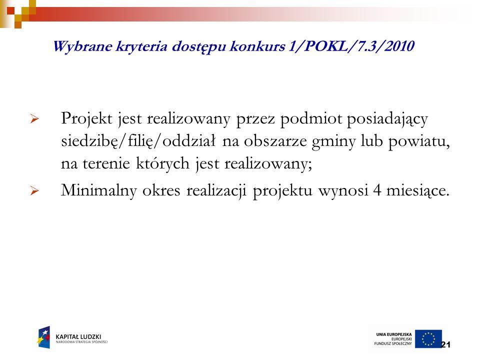21 Wybrane kryteria dostępu konkurs 1/POKL/7.3/2010 Projekt jest realizowany przez podmiot posiadający siedzibę/filię/oddział na obszarze gminy lub powiatu, na terenie których jest realizowany; Minimalny okres realizacji projektu wynosi 4 miesiące.