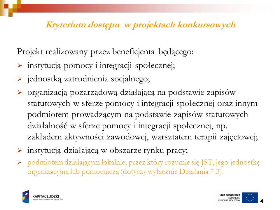 15 Kryteria strategiczne w ramach Poddziałania 7.2.1 konkurs 2/POKL/7.2.1/2010 c.d.