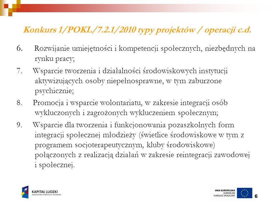 7 Wybrane kryteria dostępu w ramach Poddziałania 7.2.1 konkurs 1/POKL/7.2.1/2010 Beneficjent posiada minimum roczne udokumentowane doświadczenie w realizacji działań z obszaru pomocy i integracji społecznej lub rynku pracy (3,4,5,7,8,9); Projekt zapewnia zastosowanie co najmniej trzech różnych typów działań w odniesieniu do każdego uczestnika projektu (1,2,6,7,9); Grupę docelową w projekcie stanowią w co najmniej 50% osoby w wieku powyżej 45 r.ż.
