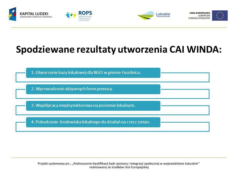 Spodziewane rezultaty utworzenia CAI WINDA: 1.