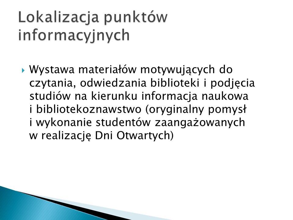 Wystawa materiałów motywujących do czytania, odwiedzania biblioteki i podjęcia studiów na kierunku informacja naukowa i bibliotekoznawstwo (oryginalny