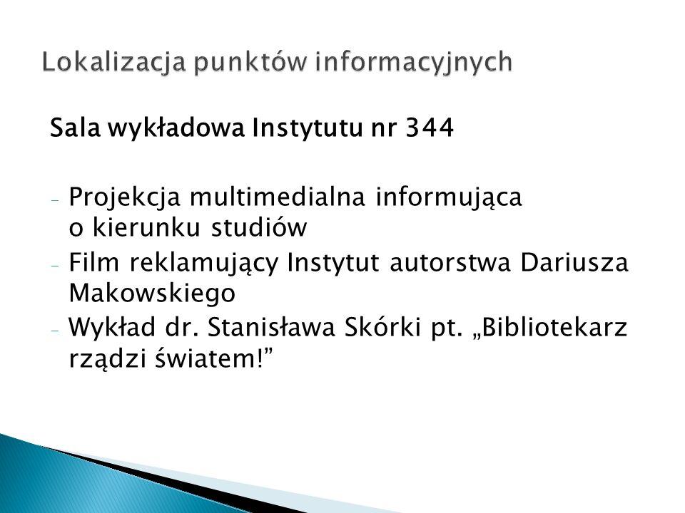 Sala wykładowa Instytutu nr 344 - Projekcja multimedialna informująca o kierunku studiów - Film reklamujący Instytut autorstwa Dariusza Makowskiego -