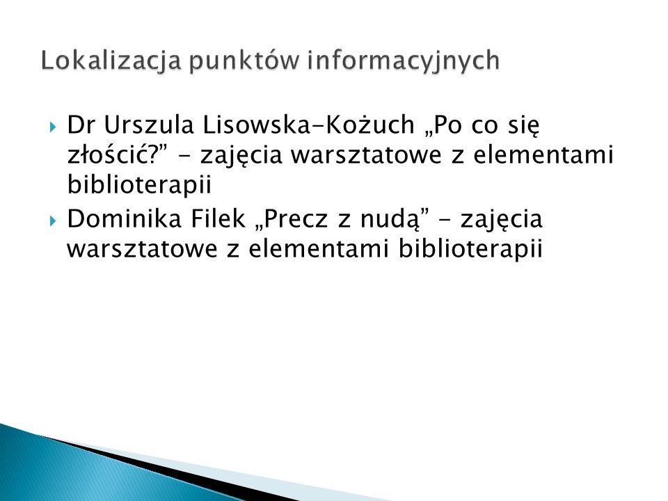Dr Urszula Lisowska-Kożuch Po co się złościć? - zajęcia warsztatowe z elementami biblioterapii Dominika Filek Precz z nudą - zajęcia warsztatowe z ele