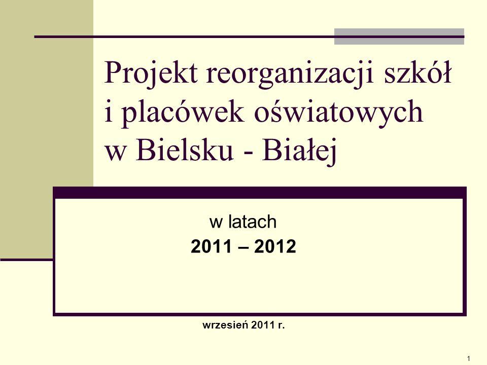 Projekt reorganizacji szkół i placówek oświatowych w Bielsku - Białej w latach 2011 – 2012 wrzesień 2011 r. 1