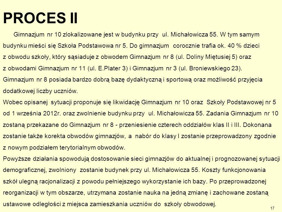 PROCES II Gimnazjum nr 10 zlokalizowane jest w budynku przy ul. Michałowicza 55. W tym samym budynku mieści się Szkoła Podstawowa nr 5. Do gimnazjum c