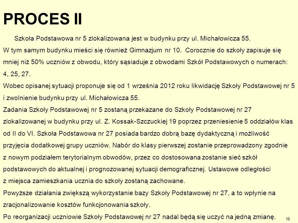 PROCES II Szkoła Podstawowa nr 5 zlokalizowana jest w budynku przy ul. Michałowicza 55. W tym samym budynku mieści się również Gimnazjum nr 10. Corocz