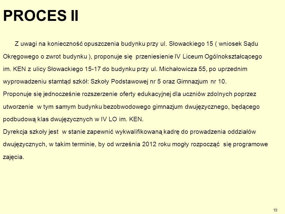 PROCES II Z uwagi na konieczność opuszczenia budynku przy ul. Słowackiego 15 ( wniosek Sądu Okręgowego o zwrot budynku ), proponuje się przeniesienie