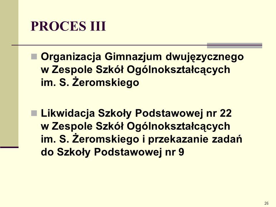 PROCES III Organizacja Gimnazjum dwujęzycznego w Zespole Szkół Ogólnokształcących im. S. Żeromskiego Likwidacja Szkoły Podstawowej nr 22 w Zespole Szk