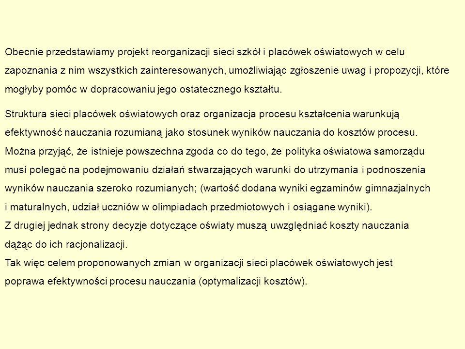 Projekt reorganizacji szkół i placówek oświatowych w Bielsku - Białej w latach 2011 – 2012 wrzesień 2011 r.